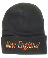 New England Adult Size Wavy Script Winter Knit Beanie Hat (Navy) - $12.95