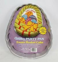 Vintage 1980 Wilton Cake EASTER BASKET Party Pan Baking Tin Eggs Basket Bow - $8.41