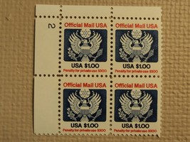 USPS Scott O132 $1 Official Mail USA 1983 Mint NH Plate Block 4 Stamps - $20.24