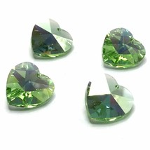 4 pcs Swarovski 6202 Crystal Heart Pendant 14mm green PERIDOT AB *Cleara... - $6.08