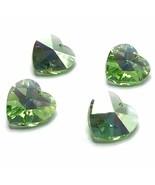 4 pcs Swarovski 6202 Crystal Heart Pendant 14mm green PERIDOT AB *Cleara... - $6.08