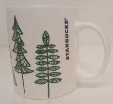 Starbucks Coffee Mug Pine Trees 12oz Cup Quilted Green 2015 Holiday Chri... - $19.75