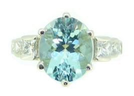 Platinum 6.41ct Genuine Natural Aquamarine Ring with 1/2ct Diamonds (#J4138) - $2,495.00
