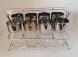 Mid Century Modern Dorothy Thorpe Mercury Ombre Tumbler Set of 8 & Carry... - $109.91