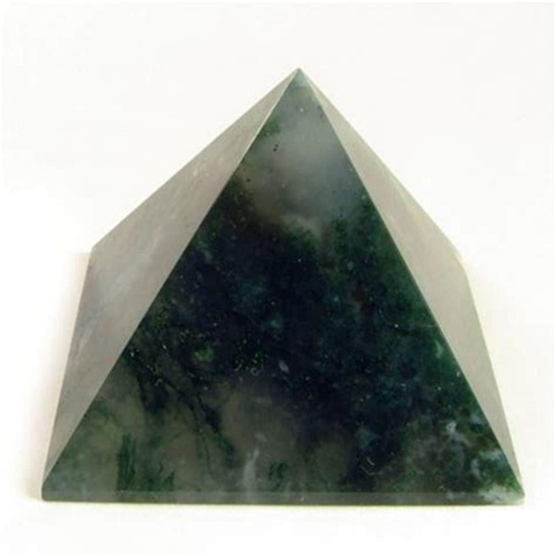 Moss Agate Chakra Pyramid Reiki Healing Crystals and Stones Rose Quartz Labrador - $26.99