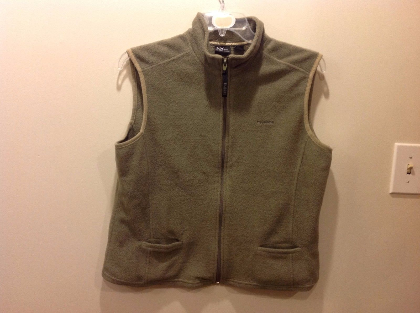 Soft Warm Jade Green Zip Up Collared Vest by New York & Co Sz XL