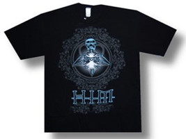 HIM-Blue Glow Skull-XXL Black Slim-fit T-shirt - $12.59