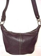 Furla Dark Brown Pebbled Leather Shoulder Bag Silvertone Hardware - $44.61