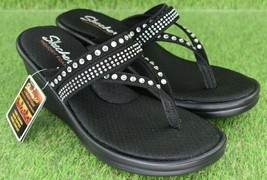 Skechers Cali Rumblers Famous Sandals Black Rhinestone Strappy Women's Sz 7.5 - $41.18