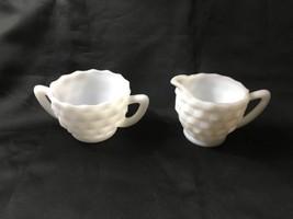 Jeanette Glass Cube Pattern Cream & Super Set, Milk Glass White Vintage - $6.99