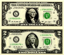 2013 $1 & $2 Star Notes ✯ Exclusive S/N Match 7digits San Francisco - $34.00