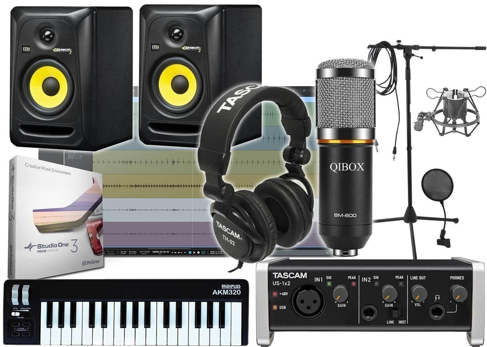home recording studio one bundle studio package krk rp5 g3 tascam software studio live. Black Bedroom Furniture Sets. Home Design Ideas