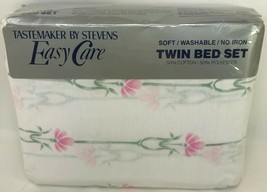NEW 1986 Tastemaker by Stevens Easy Care Pink Floral Size Twin 3 Piece S... - $49.49