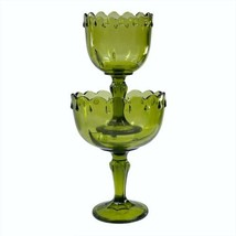 Vtg Green Pedestal Compote Candy Dish Bowl Teardrop Stacked Set Indiana Glass - $19.59