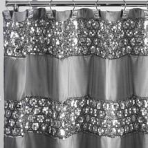 Metallic Silver Glitter Shower Curtain Sequin Bathroom Decor Shiny Bath ... - $43.74