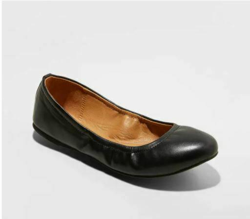 Universal Thread Women' Paulina Faux Leather Scrunch Ballet Flats Black Size 8.5