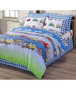 4-Piece Truck Tractor School Bus Police Car Reversible Duvet Cover Set Q... - $39.99