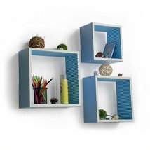 Trista - [Powder Blue] Square Leather Wall Shelf / Bookshelf / Floating ... - $102.07