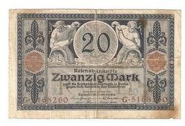 Germany German Empire 20 Mark 1915 Reichsbanknote banknote Ser. G . 5168260 - $6.33