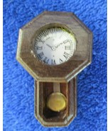 Dollhouse Miniature Brown Wood Wall Grandfather Clock 1:12 Scale Nonwork... - $7.91