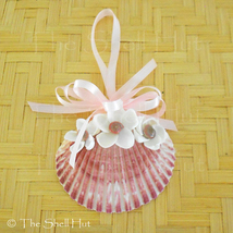 Seashell Christmas Ornament Pink Shell White Shell Flowers Beach House #25 - $14.99