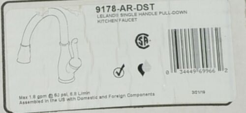 Delta 9178ARDST Leland Single Handle Pull Down Kitchen Faucet Shieldspray