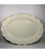 """Better Homes & Gardens Extra Large Platter 20"""" x 15"""" Cream Brown Scallop... - $24.74"""