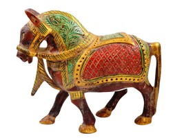 Antique Indian Style Hand Carved Wooden Horse Statue for home decor gift... - $59.99