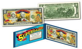 HAPPY FATHERS DAY #1 DAD SUPERHERO Legal Tender U.S. $2 Bill w/ DISPLAY ... - $13.81