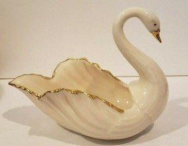"Lenox Swan Hand Decorated 24 K Gold Trim Trinket Dish Ring Holder 5"" x 4... - $12.95"