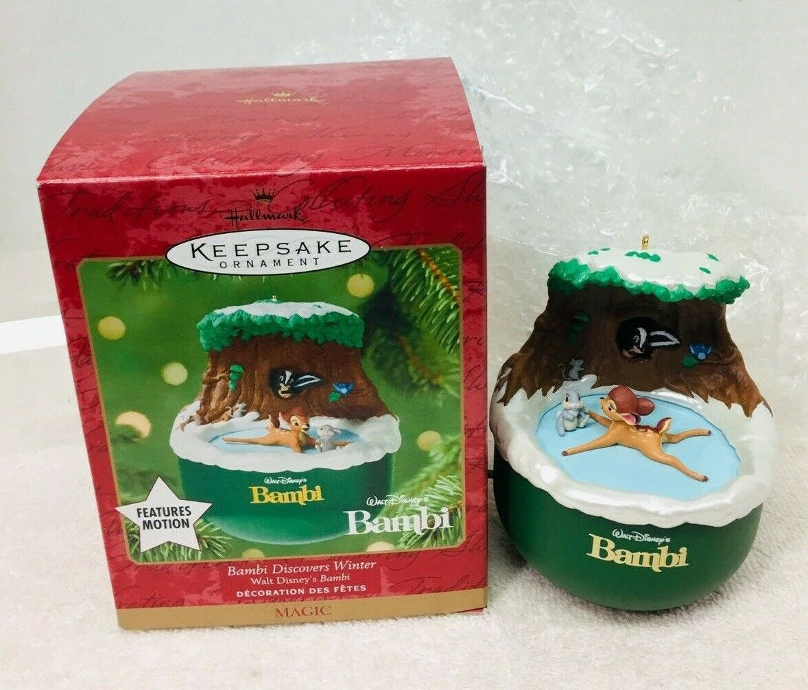 Primary image for   2001 Bambi Discovers Winter Disney Magic Hallmark Christmas Tree Ornament MIB