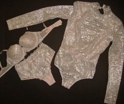 NWT Victoria's Secret 32D BRA SET+high-waist panty+S TEDDY ice PINK silv... - $98.99