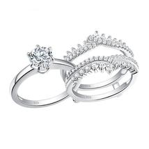 2 Pcs 925 Sterling Silver CZ Wedding Rings Set For Women Solitaire Engagement Ri