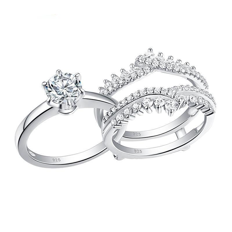 2 pcs 925 sterling silver wedding rings set for women solitaire engagement ring detachable guard