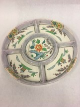 Vintage Japanese Ceramicl Round Divided Dish Lacquerware Japan wall hanging - $39.10