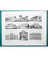 ARCHITECTURE Neoclassical  Munich Leipzig Dresden Vienna - 1870 Engravin... - $16.20