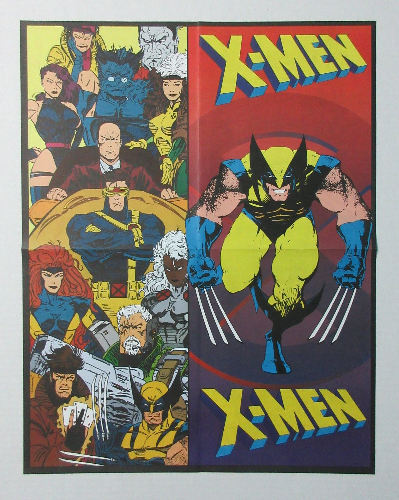 2 sided 1996 Marvel Comics Uncanny X-Men poster: Wolverine/Gambit/Psylocke/Rogue