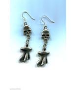 silver skull long earrings ghost dangle earings, skeleton earrings, hand... - $5.99