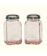 New Pale Pink Depression Style Glass Salt and Pepper Shakers Embossed Retro - $16.00