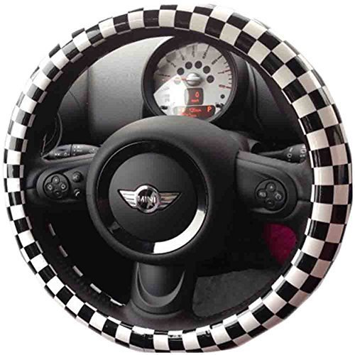 Black And White Squares Steering Wheel Cover Leather Steering Wheel Cover