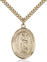 14K Gold Filled O/L of Guadalupe Pendant 1 x 3/4 inch with 24 inch Chain - $135.80