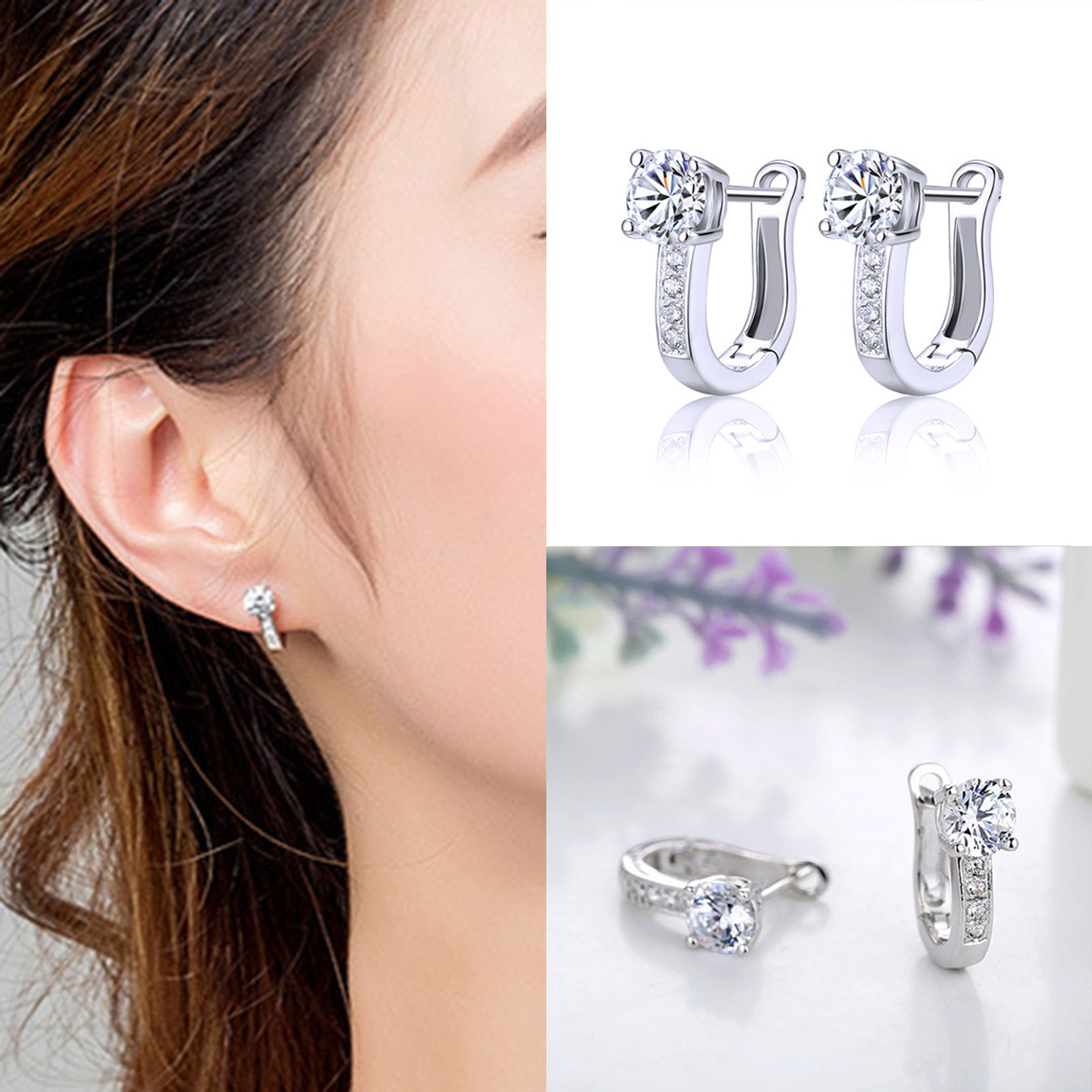 2018 New Arrival Korean Style Best Friends Silver Color Earrings U Shape Stud image 2