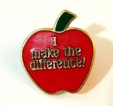 VTG Red Apple I Make The Difference! Gold Tone Enamel Pin School Teacher... - $7.80