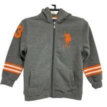 U.S. Polo Assn. Boys Hoodie Sweatshirt Full Zip Gray/Orange Size 6 - $33.37