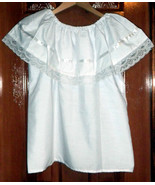 Girls White Off-Shoulder Ruffle Top W/Lace Ribbon Mexico Folklorico Fies... - $18.98+