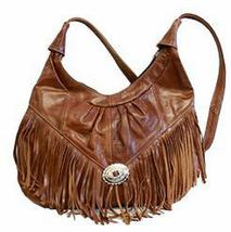 Brown Women's Handbag, Fringe Hobo Soft Leather Purse, shoulder bag, retro - $64.99
