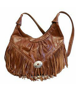 Brown Women's Handbag, Fringe Hobo Soft Leather Purse, shoulder bag, retro - $64.99
