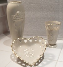 Lenox Rose Blossom and Hearts Vase Set of 3 Items Fine China 24K Gold Trim - $24.00