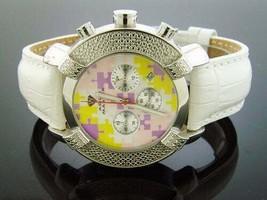 Aqua Master Round 20 Diamonds Watch Puzzel face with White Genuine Leath... - $138.59