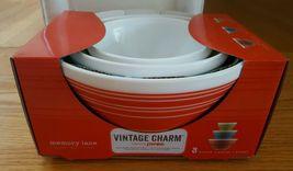Vintage Charm Pyrex Mixing Bowls Memory Lane 3 Piece Set New In Box Opal Glaze - $35.59